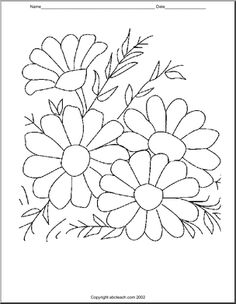 Daisies, butterflies, flowers and more coloring pages for Spring! Floral Embroidery Patterns, Hand Embroidery Stitches, Hand Embroidery Designs, Applique Patterns, Adult Coloring Book Pages, Coloring Books, Coloring Pages, Art Drawings For Kids, Wool Applique