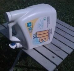 Use an empty laundry detergent dispenser as a hand washing station | 41 Camping Hacks That Are Borderline Genius