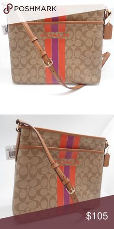 """COACH Varsity Stripe File Crossbody Bag Color: Khaki & Watermelon.                            Lightweight and durable in signature canvas with leather trim, this Varsity Stripe File crossbody is ideal for weekends, errands and travel. The design is finished with a secure zippered closure and a strap that adjusts for a comfortable carry. Zip Top Closure; Signature coated canvas Silver tone hardware; Fabric lining 21 1/2"""" adjustable shoulder strap Inside zipper pocket and 2 open pockets…"""