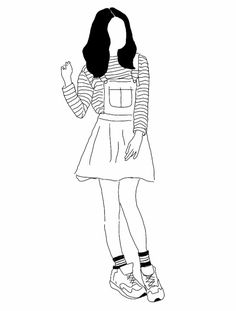 girl, drawing, and grunge image Outline Drawings, Cool Art Drawings, Easy Drawings, Drawing Sketches, Desenhos Love, Minimalist Drawing, Aesthetic Art, Doodle Art, Art Inspo
