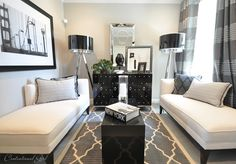 love the graphic gray window treatments and trellis rug