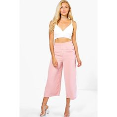 Boohoo Night Noemi Button Front Wide Leg Cropped Trousers ($35) ❤ liked on Polyvore featuring pants, blush, wide leg cropped trousers, wide leg pants, white trousers, cropped pants and tapered pants