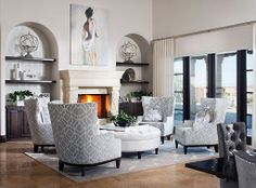 white, gray, brown, tan, black, prints - living room