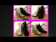 Zapatos tejidos a Crochet, Tipo Converse tejidos Parte 2 - YouTube