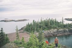View of the Tomboli Campsite, Michipicoten Island, Lake Superior with Horizons Adventures.