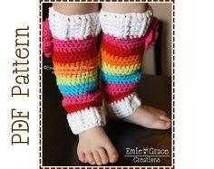Leg Warmers Crochet Pattern Rainbow Stripes by EmieGraceCreations, $3.99