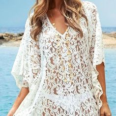 Sexy V-Neck 3/4 Sleeve Solid Color Hollow Out Cover Up