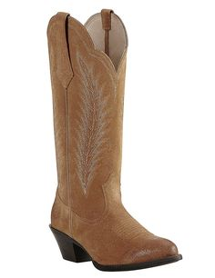 Ariat Women's Driftwood Tan with Cream Embroidery Western Round Toe Boots | Cavender's