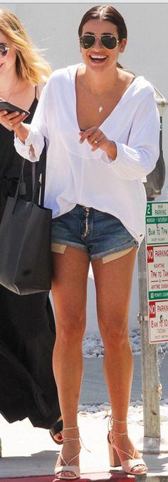 Lea Michele in Sunglasses – Ray Ban Shirt – One x Oneteaspoon ring -Alison Lou Vest – AYR Purse – Saint Laurent Shoes – Aquazzura Shorts – Rag & Bone Alison Lou, Saint Laurent Shoes, Lea Michele, Lace Up Sandals, Aquazzura, Black Handbags, White Tops, Blue Denim, Glee