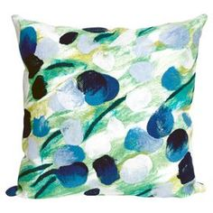 Indoor/outdoor pillow with an impressionist floral motif. Handmade in the USA.  Product: PillowConstruction Material: 100% PolyesterColor: BlueFeatures:  Suitable for indoor and outdoor useHandmade in the USAInsert includedZipper closureAntimicrobial Cleaning and Care: Hand wash with mild detergent. Air dry flat.