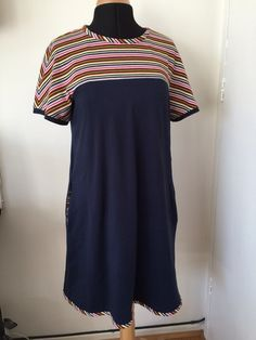 Own pattern. Stripey fabric is Paul Smith from Fabrics Galore Navy is from Simply Fabrics. Short Sleeve Dresses, Dresses With Sleeves, Paul Smith, Dressmaking, Fabrics, Tunic, Navy, Sewing, Pattern