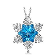 925 Sterling Silver Snowflake Pendant Necklace with Crystals from Swarovski  NINASUN b844a8d57e41