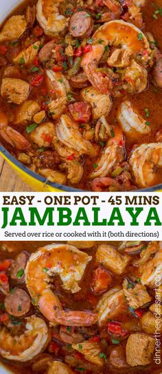 Easy Jambalaya made with Chicken, Shrimp and Andouille Sausage in under 45 minutes. Served over rice or rice cooked with the jambalaya for one pot meal. Easy Jambalaya (Chicken, Shrimp and Andouille) - Dinner, then Sausage And Shrimp Recipes, Shrimp And Sausage Jambalaya, Andouille Sausage Recipes, Easy Jambalaya Recipe, Jambalaya Recipe Without Rice, Jambalaya Soup, Homemade Jambalaya, Shrimp Recipes With Rice, Seafood Jambalaya