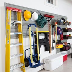 New Garage Hardware Storage System by Flow Wall. Patio Garden Furniture from top store Pegboard Garage, Diy Garage Storage, Garage Workbench, Garage Cabinets, Storage Rack, Garage Hoist, Tool Pegboard, Garage Wall Shelving, Garage Doors