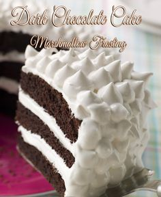 Dark Chocolate Cake With Marshmallow Frosting - HowToInstructions.Us