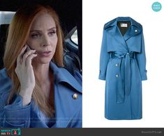 Donna's blue satin trench coat on Suits Fashion Tv, Fashion Outfits, Donna Suits, Sarah Rafferty, High Class Fashion, Red Long Sleeve Dress, Green Coat, Green Blouse, Mom Outfits