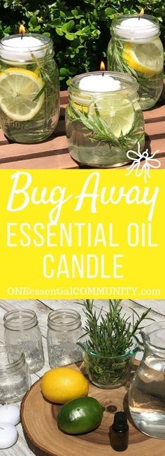 "keep mosquitoes, flies, and other bugs & insects away from your summer fun with these DIY all-natural ""Bug Away"" essential oil candles (Diy Candles Essential Oils) Young Living Oils, Young Living Essential Oils, Pot Mason, Mason Jars, Ideas Prácticas, Craft Ideas, Essential Oil Candles, Salud Natural, Bugs And Insects"