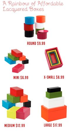 Pretty, colorful, AND organized!! Thats what I'm talking about! Container Store Lacquered Boxes