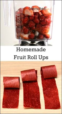 Homemade fruit roll ups  are so easy to make! This simple snack recipe takes minutes to prepare in a blender.