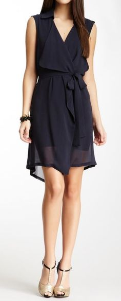 Sheer Navy Chiffon Dress ♡