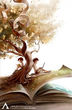 Cute illustration, that show beautifulnest of books. world of books I Love Books, Good Books, Book Wallpaper, Wallpaper Backgrounds, Reading Art, World Of Books, Book Images, Surreal Art, Book Illustration