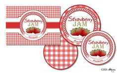 Free printable strawberry jam labels by GKK-design Jam Jar Labels, Jam Label, Canning Labels, Food Labels, Book Crafts, Paper Crafts, Small Coffee Shop, Strawberry Jelly, Jam And Jelly