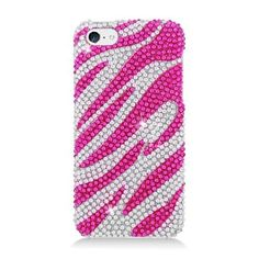 Zebra Hot Pink White w/ Full Rhinestones for iPhone 5C