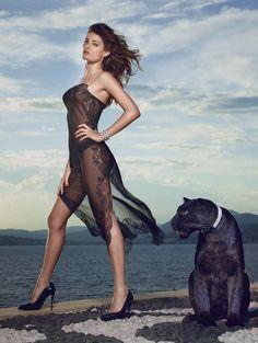 Carine Gilson slip dress | Isabeli Fontana lensed by Mark Segal | Lui Magazine July-August 2014