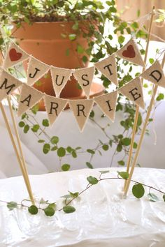 Just Married Wedding Cake Topper Banner by atCompanyB on Etsy, $28.00