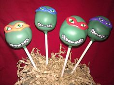 Teenage Mutant Ninja Turtles Cake Pops, found on betweenthepagesblog.typepad.com