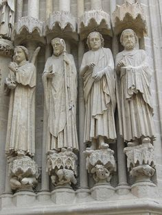 Cathédrale Notre-Dame (XIIIe) - Amiens - France phot by Yvette Gauthier, via Flickr. These sculptures on the facade were once painted in vibrant colours.
