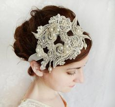 vintage lace wedding hairpiece ivory lace bridal by thehoneycomb, $120.00