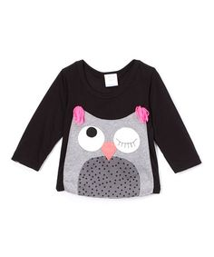 Another great find on #zulily! Black Owl Appliqué Long-Sleeve Tee - Infant & Toddler #zulilyfinds