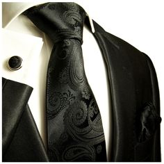 Paul Malone Necktie, Pocket Square and Cufflinks 100% Silk Black Paisley at Amazon Men's Clothing store: Black Paisley Tie