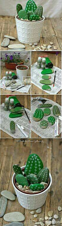 Rock painted to look like cactus. From do-it-yourself decorating ideas on Facebook.