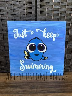 Diy Canvas Art 86949 Dory Art/ Dory Canvas / Dory Kids Room / Just Keep Swimming / Watercolor / Custom Canvas / Handpainted / Canvas Art / Wall Decor / Kids Room Easy Canvas Art, Small Canvas Art, Mini Canvas Art, Kids Canvas, Acrylic Painting Canvas, Canvas Tent, Canvas Frame, Disney Canvas Paintings, Disney Canvas Art