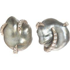 MONIQUE PÉAN  Keshi Pearl & Diamond Stud Earrings