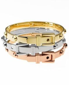 Michael Kors Bracelets, Tri-Tone Belt Buckle Bangles - Fashion Jewelry - Jewelry & Watches - Macy's these would go perfect and I could do a wrist stack ! Bijoux Michael Kors, Michael Kors Bracelet, Handbags Michael Kors, Fashion Bracelets, Bangle Bracelets, Fashion Jewelry, Bangles, Jewelry Accessories, Fashion Accessories
