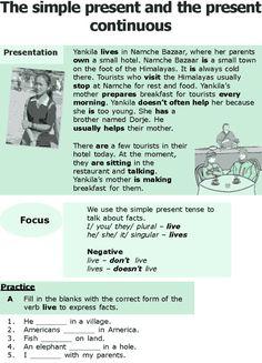 Grade 6 Grammar Lesson 1 The simple present and the present continuous Klasse 6 Grammatik Lektion 1 English Prepositions, English Verbs, Kids English, English Writing, Learn English, English Literature, English Study, Practice English Grammar, English Grammar Worksheets