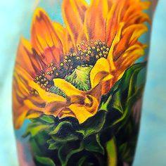 3D Realistic Yellow Sunflower Tattoo Idea