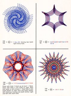 Spirograph is a geometric drawing toy that produces mathematical roulette curves of the variety technically known as hypotrochoids and epitrochoids. It was developed by British engineer Denys Fisher and first sold in Geometric Drawing, Geometric Shapes, Spirograph Art, Original Spirograph, Zentangle, Arts And Crafts, Paper Crafts, Modern Embroidery, Old Toys