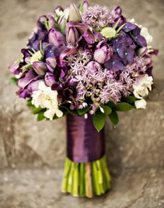 Purple Tulip & Mixed Flower wedding flower bouquet, bridal bouquet, wedding flowers, add pic source on comment and we will update it. Purple Tulips, Purple Wedding Flowers, Dusty Purple, Purple Bridesmaid Bouquets, Wedding Bouquets, Bridesmaids, Tulip Colors, Toddler Flower Girl Dresses, Wedding Decorations