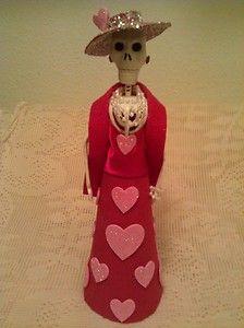 "Catrina ""Valentina"" Valentines Dia de Los Muertos Day of The Dead Folk Art | eBay"