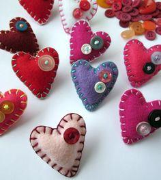 I Heart You Brooches Felt Hearts by lovahandmade on Etsy