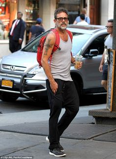 Looking lean: Jeffrey Dean Morgan showed off his well muscled figure as he strolled in the Soho neighborhood in New York City on Thursday