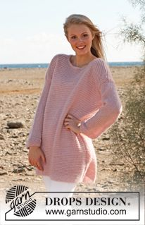 """Free pattern: DROPS 148-36 Knitted DROPS jumper in garter st in """"Alpaca"""", """"Kid-Silk"""" and """"Glitter"""".  (Change language on pattern by clicking on the link and selecting your language in the drop-down menu below the picture.)"""