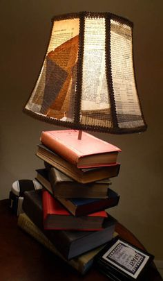 Book Lamp, I'd do the shade a little differently, but I like the way the books are arranged!  I fully intend to make one!