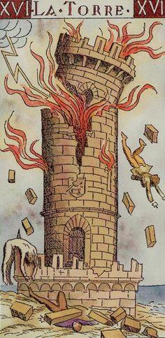 XVI. The Tower - Tarot of the Master by Giovanni Vacchetta. Der zusammenbrechende Turm und die stürzenden Menschen erinnern an die Anschläge vom 11. September. Es handelt sich demnach um eine archetypische Inszenierung.