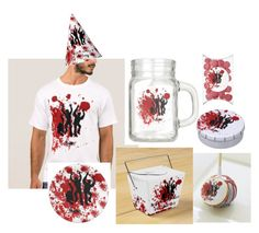 """""""Zombie Party Set Personalied"""" by streetstylegirl-leahg ❤ liked on Polyvore featuring interior, interiors, interior design, home, home decor, interior decorating, zombies, bloodsplatter, zombiewedding and zombieparty"""