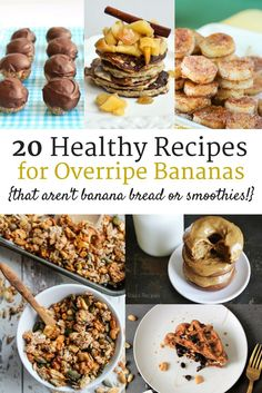20 Healthy Ripe Banana Recipes (that aren't banana bread or smoothies!) Have a bunch of bananas that are a little past their prime? Check out these 20 healthy recipes for overripe bananas. Many gluten free, dairy free, and clean eating options! Banana Recipes Clean Eating, Ripe Banana Recipes Healthy, Banana Snacks, Banana Dessert Recipes, Clean Eating Desserts, Banana Bread Recipes, Healthy Dessert Recipes, Gourmet Recipes, Snack Recipes